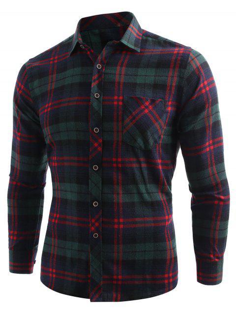Camisa con botones de bolsillo con estampado de cuadros - Verde de Mar  XL Mobile