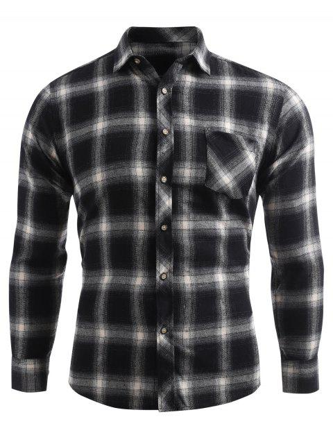 sale Plaid Print Pocket Button Up Shirt - DARK GRAY M Mobile
