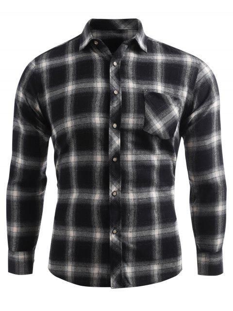 Kariertes Druck Tasche Knopf Oben Shirt - Dunkelgrau XL  Mobile