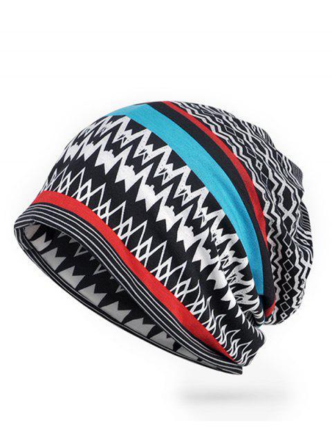 Bonnet motif rayé irrégulier vintage vague - Noir  Mobile