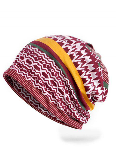 Bonnet Motif Rayures et Zig Zag Irréguliers Style Vintage - Rouge Vineux  Mobile