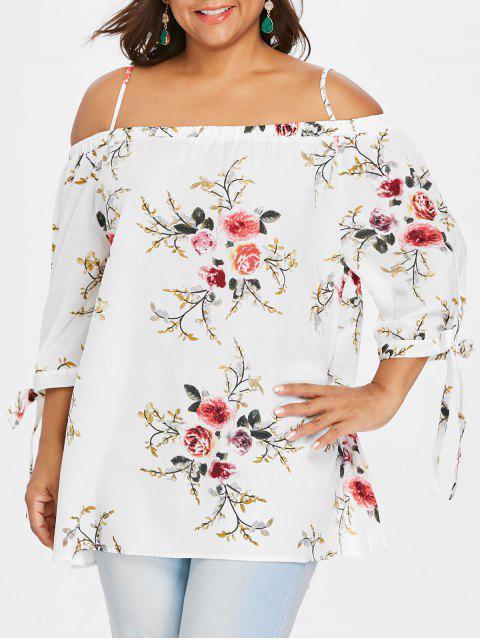 Blouse Grande Taille Florale Épaules Ouvertes - Blanc 2XL Mobile
