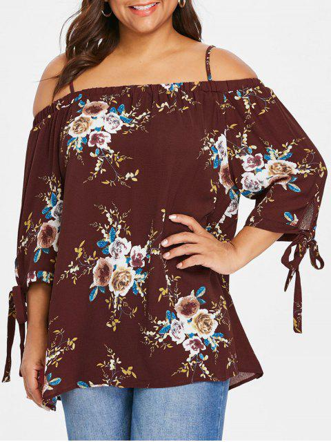latest Plus Size Floral Cold Shoulder Blouse - WINE RED 2XL Mobile