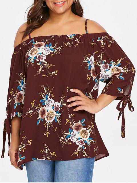 Übergröße Bluse mit Schulterfrei und Blumendruck - Weinrot 2XL Mobile