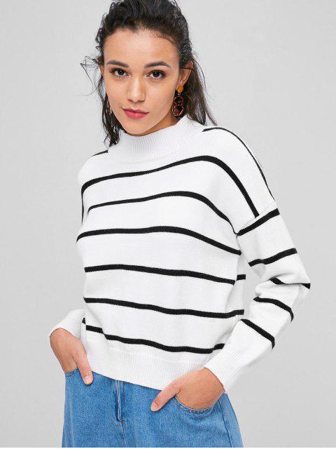 Streifen Hoher Ausschnitt Pullover - Weiß Eine Größe Mobile