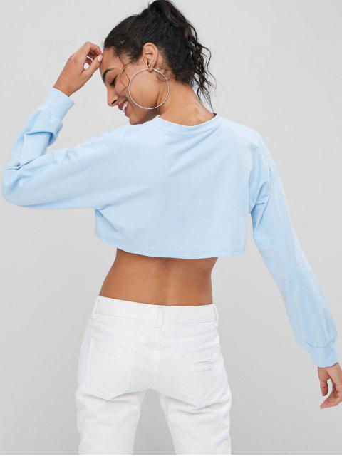 outfit Slogan Graphic Cropped Sweatshirt - SEA BLUE L Mobile