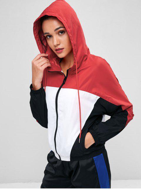 affordable Color Block Windbreaker Jacket - MULTI L Mobile