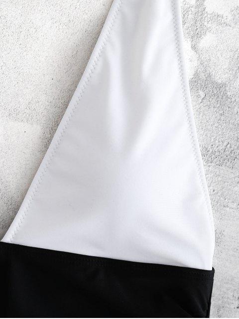 Traje de baño de una pieza de color bloque halter - Blanco L Mobile