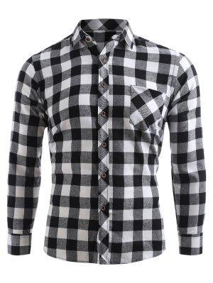 Kariertes Druck Tasche Knopf Oben Shirt