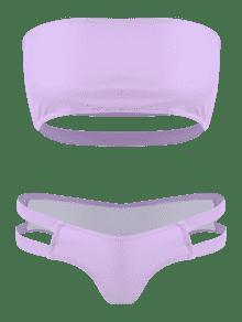 9dead7d2f9 44% OFF   HOT  2019 ZAFUL Strappy Back Bandeau Bikini Set In LILAC S ...