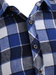 Xs Azul Pecho Bolsillo Camisa Botones Con Arrendajo El En De A Cuadros Tfnq6wHP