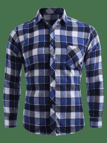 A Bolsillo El Con Pecho Botones Cuadros De Azul En Camisa Xs Arrendajo q4w0WTXdHn