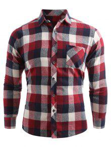 جيب الصدر زر حتى قميص فحص - كستنائي أحمر Xl