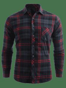 Bolsillo Botones De Con Xs Verde Estampado De Mar Cuadros Camisa De Con q4atwx551