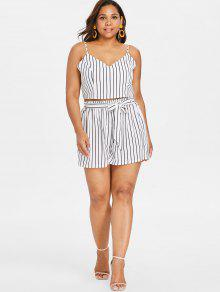 d3e1531065 22% OFF  2019 Plus Size Striped Cami Shorts Set In WHITE