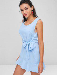 839689d68d 66% OFF  2019 Tie Waist Ruffle Hem Mini Dress In LIGHT SKY BLUE M ...