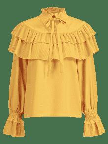 Escalonado Blusa Pliegues S Lazo Brillante De Amarillo Con IRqF7wR