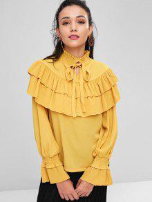 Escalonado Blusa Brillante Amarillo De S Pliegues Lazo Con qSI8SZ