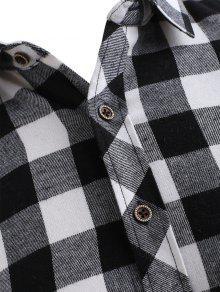Bolsillo 243;n Xs Con Impresi Negro Camisa Botones De La Comprobar De 8XwFS