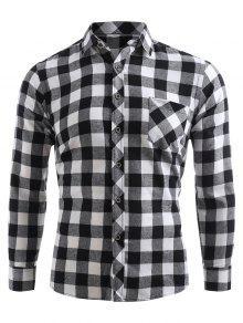 تحقق طباعة جيب زر حتى القميص - أسود S
