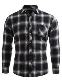 منقوشة طباعة الجيب زر حتى القميص - الرمادي الداكن M
