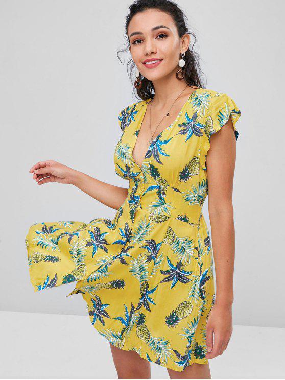 fashion Tropical Print Button Up Skater Dress - CORN YELLOW S