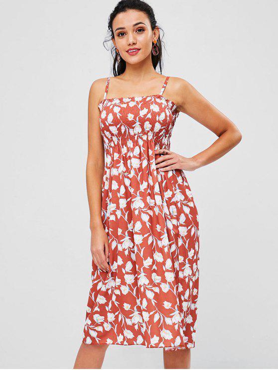 فستان منقوش بالزهور - سمك السلمون البرتقالي حجم واحد