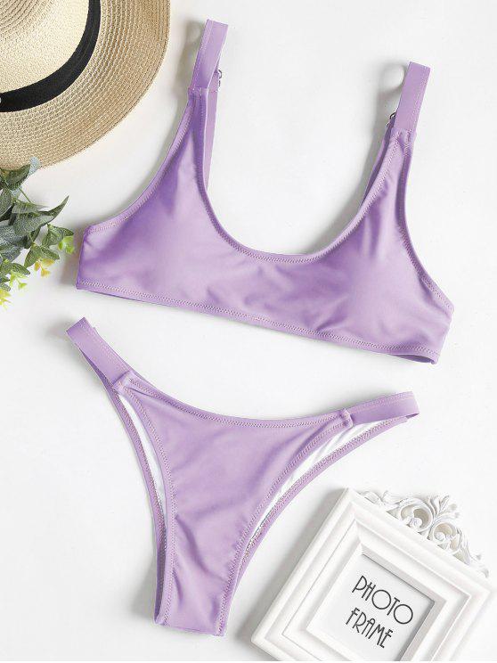 Caged Bralette Bikini Set - Flieder S