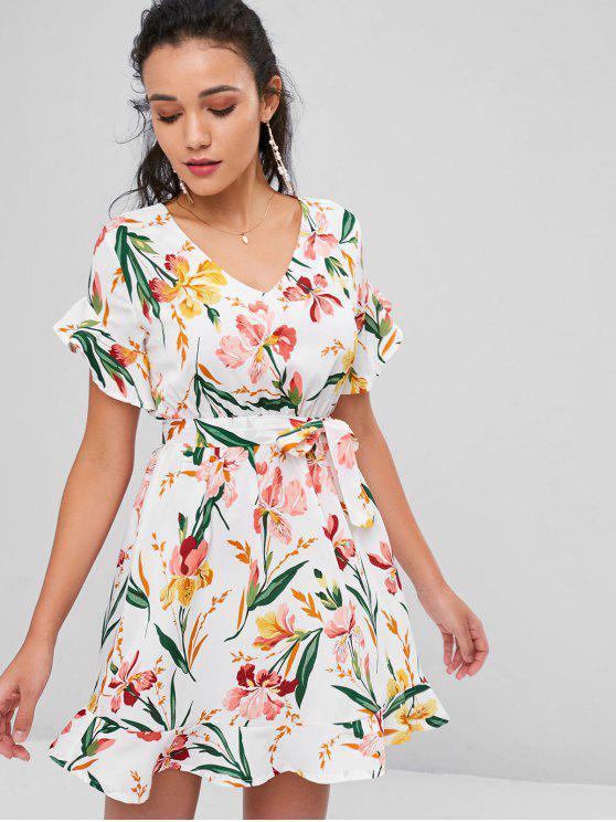 best Belted Floral Print Tea Dress - WHITE L