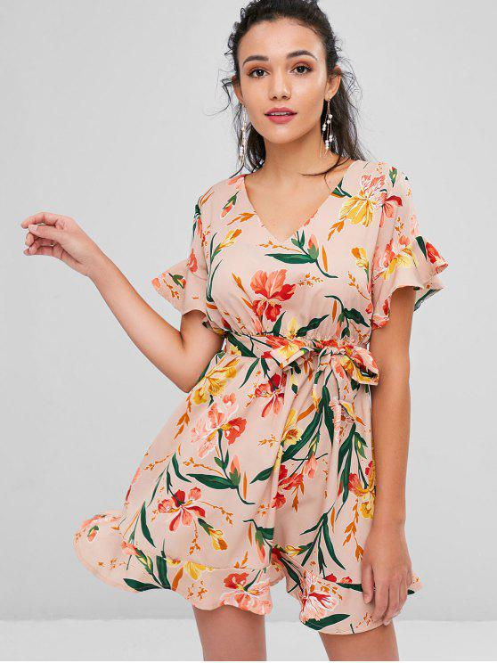 women's Belted Floral Print Tea Dress - ROSY BROWN M