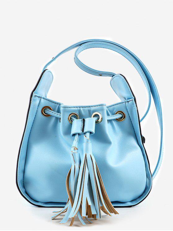 online Chic Minimalist Tassels Solid Crossbody Bag - BLUE