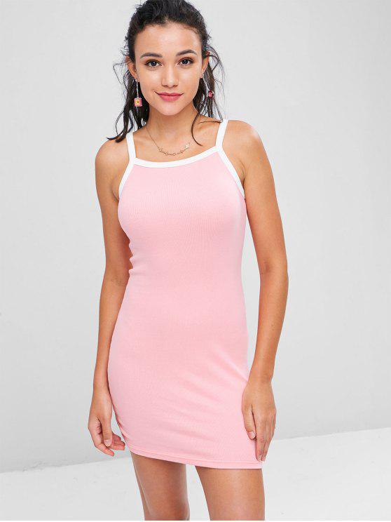 Kontrast Strick Bodycon Kleid - Pink S