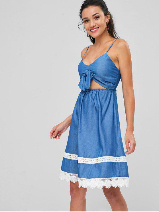latest Cut Out Bowknot Cami Dress - BLUE S