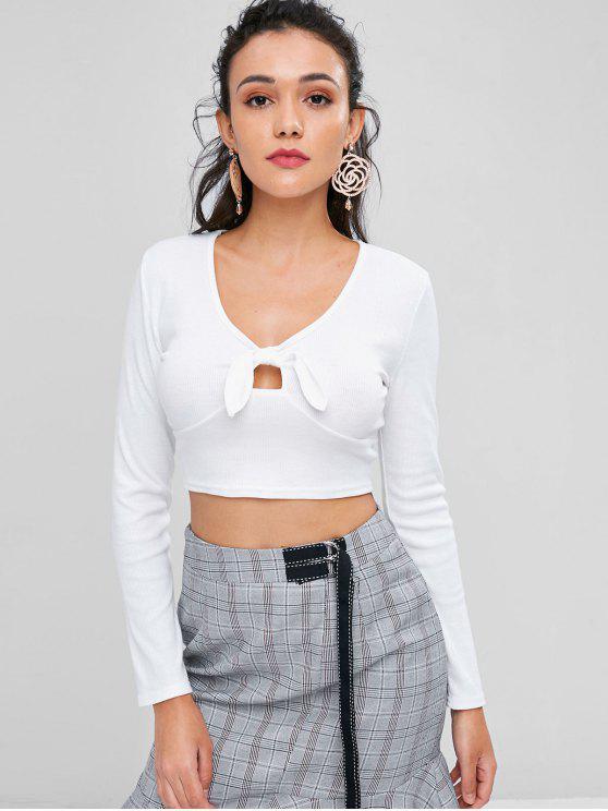 fancy Knotted Crop T-shirt - MILK WHITE L