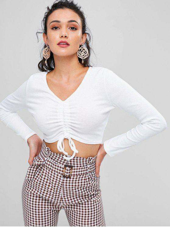 affordable Crop Cinched Tee - MILK WHITE S