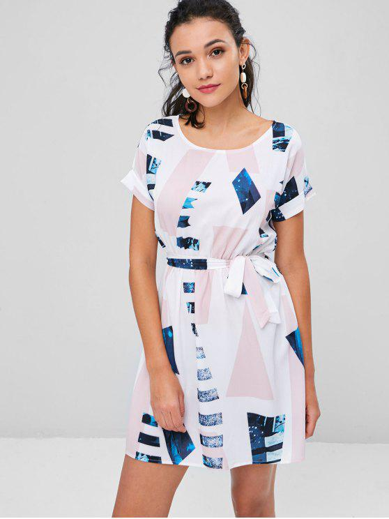 Mini vestido de té con cinturón estampado geométrico - Multicolor XL