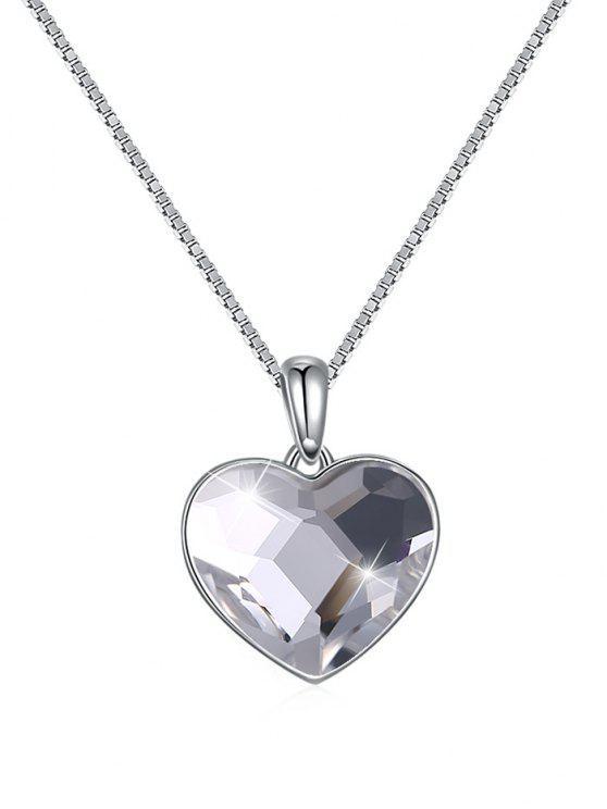 Élégant collier pendentif coeur en cristal - Transparent