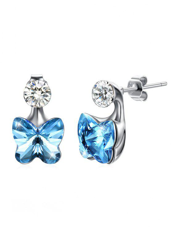 latest Crystal Butterfly Rhinestone Inlaid Stud Earrings - BUTTERFLY BLUE