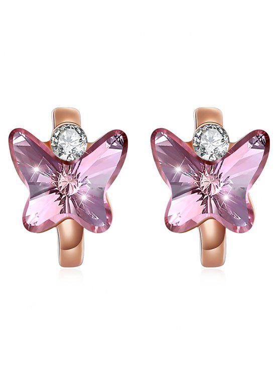 Orecchini A Farfalla Di Cristallo Scintillante - Rosa Brillante