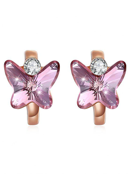 Boucles d'oreilles Huggie Vintage Crystal Butterfly - Rose Vif