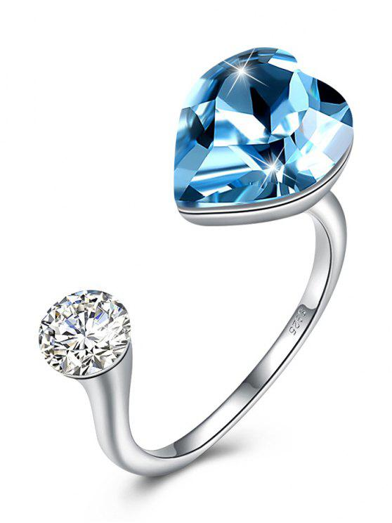 trendy Rhinestone Inlaid Crystal Heart Cuff Ring - SKY BLUE ONE-SIZE