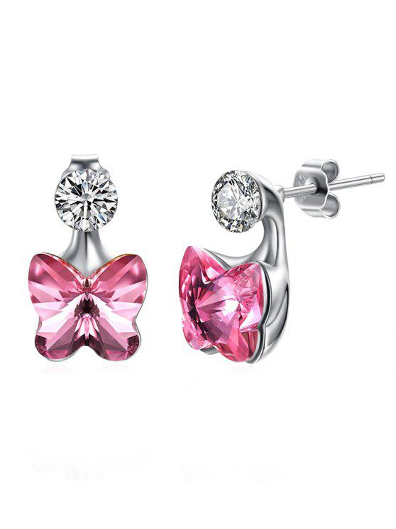 chic Crystal Butterfly Rhinestone Inlaid Stud Earrings - HOT PINK