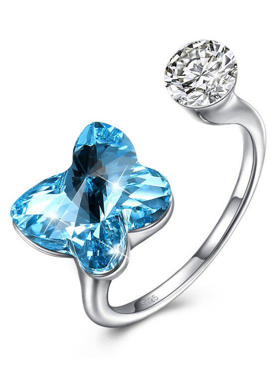 Rhinestone eingelegter Kristallschmetterlings-Manschetten-Ring - AZURBLAU Einheitsgröße
