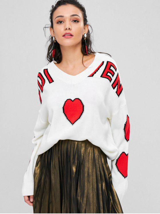 Herz Grafik Drop Schulter Pullover - Weiß Eine Größe