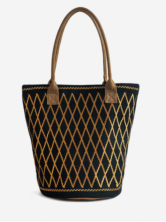 chic Canvas Geometric Crisscross Shoulder Bag - BLACK