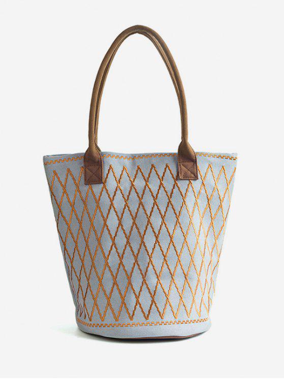 حقيبة قماش كتف هندسية متقاطعة - ازرق رمادي