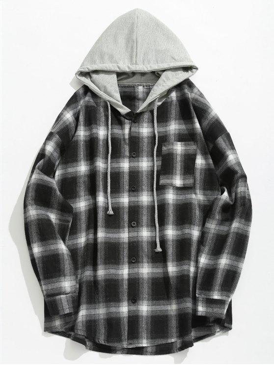 Camisa con capucha con control de bolsillo en el pecho - Negro L