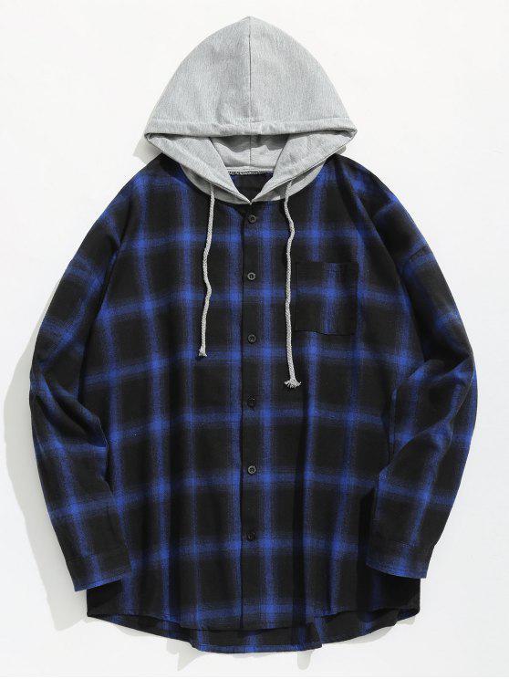 best Chest Pocket Check Hooded Shirt - BLUE L