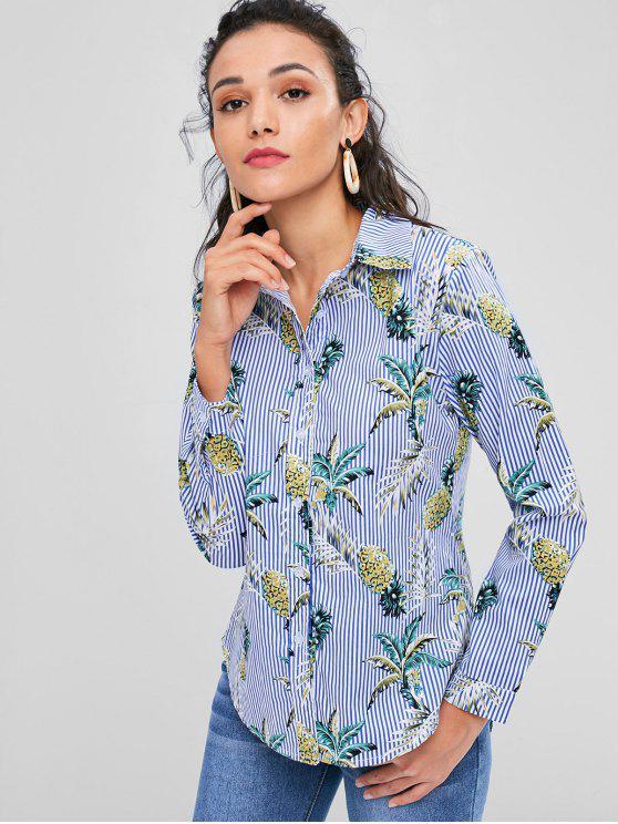 Camisa alta das listras do abacaxi baixo - Multi L