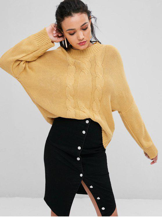 chic Oversized Cable Knit Sweater - SUN YELLOW ONE SIZE
